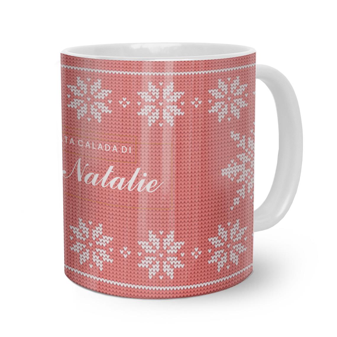Tazza di Natale personalizzata con testo.