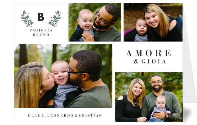 Biglietto di Natale personalizzato con foto collage che ritrae una famiglia felice.
